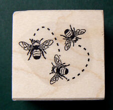 "3 little bees rubber stamp WM new 1x1""   P5"