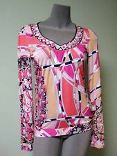 Emilio Pucci AUTH Bold Capri Pink Logo Print Scoop Neck Slim Fit Jersey Top NWT