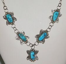 Vintage Native American Sterling Silver Turquoise Squash Blossom Drop Necklace