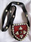 Handmade Fabric Beaded Purse Cowrie Shell+Coral+Turqouise Mosaic Center- Nepal