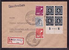 Alliierte Besetzung 914 HAN u.a. auf Orts-R-Brief, Viererblock (21502)