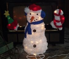 CHRISTMAS OUTDOOR LIGHTED FLUFFY SNOWMAN FIGURE TREE CANDY CANE YARD DECORATION