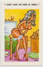 SAUCY POSTCARD - seaside comic, nude woman knickers bed knob Nobby, BOB #C4739