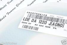 100pcs - ARCOTRONICS 2200P (2200pF 2.2nF) 63V 1206 LDE DA 1220 J SMD Capacitor