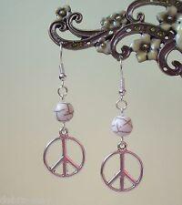 Encanto de paz pendientes de abalorios colgantes de piedra blanco crema-CND Boho Hippy