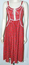 Vintage 70s Gunne Sax Dress Floral Boho Wedding Hippie Corset 7 Red Polka Dot