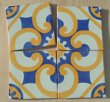 "10~Talavera Mexican White Tile 4"" Gold Washed Blue Four Make A Pattern Mexico"