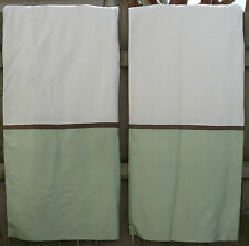 """Two Pottery Barn Color Block Silk Curtain Panels 50"""" x 96"""" Green Cream Brown"""