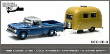 1/64 GREENLIGHT HITCH & TOW 3 1966 DODGE D-100 W/ GOLD AIRSTREAM 16' BAMBI SPORT
