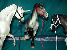 Model Horse HALTERS/LEADS Lot of 3. Mixed SOLID. Fits Breyer Traditional models.