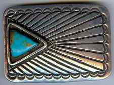 GREAT WEIGHTY VINTAGE NAVAJO INDIAN STERLING SILVER TURQUOISE BELT BUCKLE