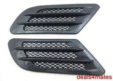 2 Side Wing Air Flow Intake Vent Trim Fender Grill Universal  Black Carbon