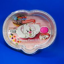 4 EASTER BUNNY CAKE PANS & LIDS MADE IN USA HANDI FOIL 9 3/8''X 7 1/4''X 1 5/8''