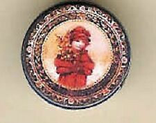DOLL HOUSE MINIATURE VICTORIAN GIRL XMAS CANDY COOKIE TIN EMPTY Jacqueline's