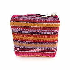 SMALL 10cm ZIPPED COIN MONEY CASH PURSE ETHNIC TRIBAL STRIPE MULTICOLOUR FABRIC