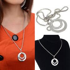 1pc Damen Halskette Kristall Strass Kreis Anhänger Lange Kette Modeschmuck