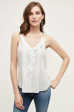 NWT Sz L Anthropologie Ruffled Mora Tank Top Blouse By Les Cocotiers Ivory 12 14