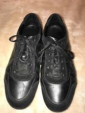 Salvatore Ferragamo Black Leather Sneakers - 7.5 EEE