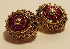 JOAN RIVERS  Retired Gold and Red Enamel Imperial Egg Clip on Earrings