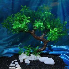 Aquarium Fish Tank Water Grass Ornament Plant Tree Decor Green Bent Tree