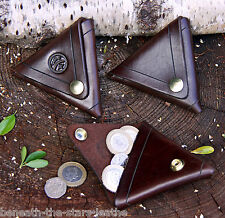 HAND-MADE EMBOSSED BROWN&BRASS 2.5MM LEATHER DOUBLESIDED TRIANGULAR PURSE/WALLET