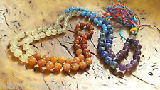 GENUINE 100% CHAKRA GEM STONE JAPA MALA 108 MEDITATION ROSARY PRAYER YOGA BEADS