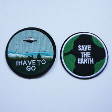 2 x Embroidery Save The Earth UFO Sew Iron On Patch Badge Bag Jeans Hat Applique