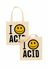 i love acid tote bag smiley face acid house rave techno psychedelic festival