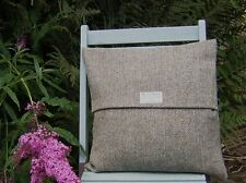 "HARRIS TWEED CUSHION COVER 16"" X 16"" BROWN/BEIGE HERRINGBONE"