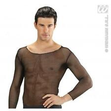 Mens Black Fishnet Top M/L Sexy Gothic Rocker Halloween Fancy Dress