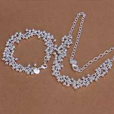 New 925Sterling Solid Silver Bright Grape Bracelet Necklace Jewelry Sets S153