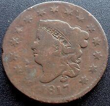 USA 1817 Large Cent 15 stars Matron Head Liberty One Cent Kupfer Selten 2300