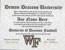 DEMON DEACONS FOOTBALL ~ CERTIFICATE ~ DIPLOMA  ~ MAN CAVE ~ GREAT GIFT
