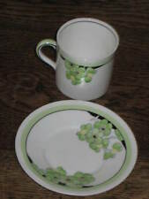 ROYAL DOULTON ART DECO PERIOD CUP & SAUCER GREEN & YELLOW FLOWERS