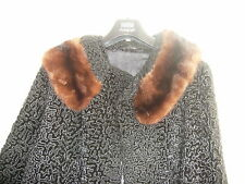 LADIES LOVELY BLACK VINTAGE ASTRA FUR WINTER COAT WITH FUR COLLAR - SIZE 12