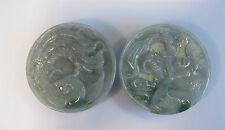 Natural grade A jade carved pair of dragon and phoenix belt buckle