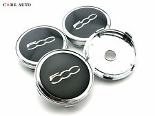 60mm × 4 Sliver Chrome 500c Wheel Center Caps Emblem For FIAT 500 NEW