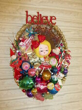 OOAK Over the Top Vintage Christmas Vanity Mirror Decoration Doll Glass Candy