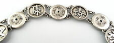 Antique c. 1880 SIGNED Chinese Export Silver AUSPICIOUS CHARACTERS Link BRACELET