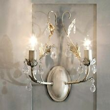 Shabby Chic 2 Light Leaf  Wall Light  Cream Vintage
