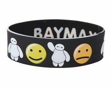 "Disney Big Hero 6 BAYMAX EMOJI RUBBER BRACELET 1"" Wide Wristband NEW"