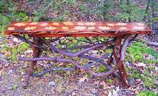 Rustic Tree Wood Console Sofa Table Log Cabin Gold Leaf Art Furniture FREE S/H