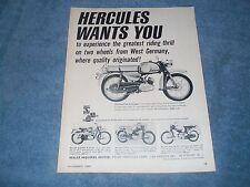 """1965 Hercules Vintage Motorcycle Ad """"Hercules Wants You"""" K-50 K-175-GS K-103-S"""