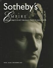 SOTHEBY'S EMPIRE Napoleon Bonaparte Art Furniture Auction Catalog 2003