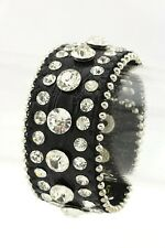 Black Leather Snap Bracelet With Clear Stone Studs