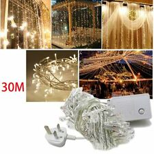 WARM WHITE 30M / 300 LED ELECTRIC BATTERY FAIRY LIGHT STRING PARTY FESTIVAL UK