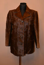 Womens glossy  brown real genuine pony skin and leather jacket/coat 14-16UK