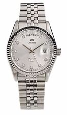 """NWT Orient """"Oyster"""" Sapphire Classic Automatic Watch Silver Dial CEV0J003W"""