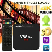 V88 Plus Smart Android 5.1 TV BOX Set Quad Core 2G/8G WiFi H.265 4K Mini PC V0K6