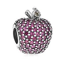 Genuine Pandora Silver Red Pave Apple Charm 791485CFR Authentic